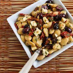 Butter Bean Salad with Sun-Dried Tomatoes, Kalamata Olives, Feta, and Basil Vinaigrette; delicious way to use fresh basil and sun-dried tomatoes! [from KalynsKitchen.com] #GlutenFree #TakeForLunch #BasilVinaigrette