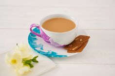 Cup and saucer with marble effect | DIY water-colour effect crockery | Tesco Living
