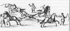 The execution of Túpac Amaru II, who was dismembered by four horses May 18, 1781.