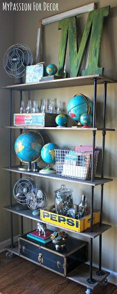 DIY Industrial Pipe and Wood Shelving