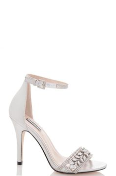 Silver Jewel Embellished Barely There Heels