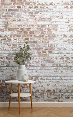 dream pop The rustic charm of our white painted brick wallpaper mural shines through the cracked and chipped paint of the brickwork design. A faux white painted brick wallpaper is a great wa Painted Brick Walls, Brick Accent Walls, Faux Brick Walls, White Brick Walls, Faux Brick Wall Panels, White Bricks, White Wash Brick Exterior, White Wash Brick Fireplace, Faux Brick Backsplash
