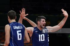 Italy's Filippo Lanza (R) and teammates celebrate after winning their men's semi-final volleyball match against USA at Maracanazinho Stadium in Rio de Janeiro on August at the Rio 2016 Olympic Games. Rio Olympics 2016, August 19, Volleyball Players, Semi Final, Rio 2016, Olympic Games, Finals, Usa, Sports