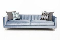 Manhattan Sofa in Sky Blue Velvet