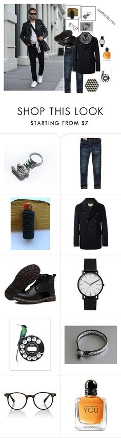 """#For him"" by justforyouhm ❤ liked on Polyvore featuring BMW, Hollister Co., Burberry, Skagen, Oliver Peoples, Giorgio Armani, men's fashion and menswear"