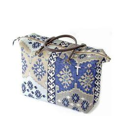 Navy Kilim Weekend Bag Unique British Umpie Bags Uk Made Yorkshire