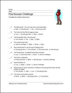 Paul Bunyan Wordsearch, Crossword Puzzle, and More