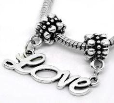 "http://cheune.com/store Antique Silver Design "" Love "" Dangle Charm Fits Pandora Troll Chamilia Biagi Bracelet"