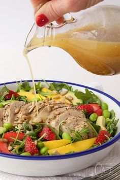 Arugula Chicken Salad with Honey Lime Dressing - a fabulous power salad full of…