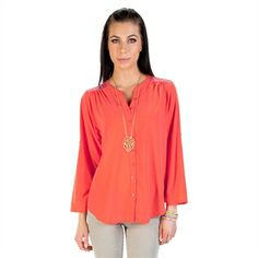 Collective Concepts Women's Contemporary Woven Blouse with Embroidered Shoulders | from Von Maur #VonMaur #StyleCorner #Orange #ButtonUp #TribalPrint