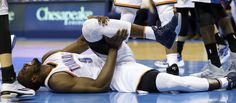 Thunder's Serge Ibaka (9) goes down in the first period but never leaves the game during the NBA basketball game between the Oklahoma City Thunder and the Minnesota Timberwolves at Chesapeake Energy Arena on March 11, 2016 in Oklahoma City, Okla. Photo by Steve Sisney, The Oklahoman