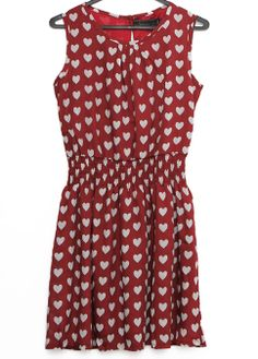 Wine Red Sleeveless Hearts Print Pleated Dress US$21.87