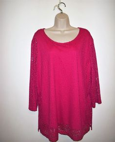 f7db77b8655 Southern Lady Women Plus Size 3X Lace Up Lined Top Blouse 3 4 SleeveStretch  Pink