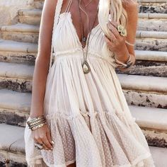 A customer favorite! Breezy boho lace adrons this summer dress. www.spool72.com