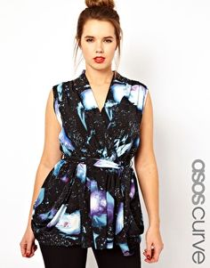 ASOS CURVE Exclusive Wrap Top In Galaxy Print--- aka my new favorite shirt, aka the greatest top ever made!