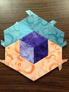 "Katja Marek's The New Hexagon - Millefiore Quilt-Along: Rosette 7: ""block 27 - Victoria"" -- completed by Tracy Pierceall, 2/16/2016"