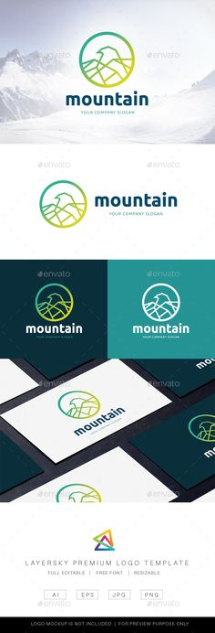 Mountain #Logo - Nature Logo Templates Download here: https://graphicriver.net/item/mountain-logo/20122988?ref=alena994