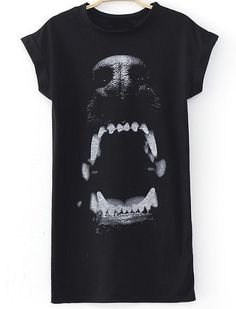Black Short Sleeve Dog Print Dress - Sheinside.com