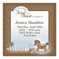 baby shower invites | our rocking horse baby shower invitation has a small horse with tiny ...