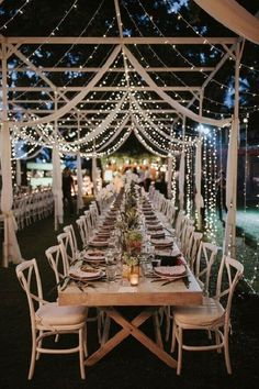 Fairy Lights Incredible Outdoor Wedding Reception In Bali With Hanging Florals Rustic Wedding Venues, Wedding Table Flowers, Outdoor Wedding Reception, Wedding Centerpieces, Wedding Decorations, Reception Ideas, Outdoor Weddings, Wedding Ceremony, Wedding Church