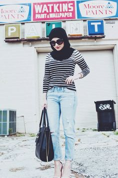 stripes + boyfriend jeans . #hijab #fashion