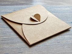 Set of CD sleeves heart button case Recycled Kraft CD by Bielyse
