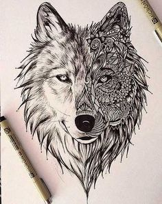 geometric wolf tattoo design - Buscar con Google