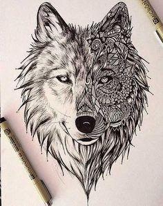 geometric wolf tattoo design - Buscar con Google