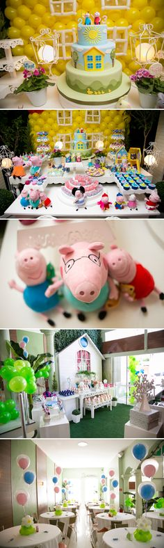 Peppa Pig party for 2 year old sister. Third Birthday, 3rd Birthday Parties, Birthday Ideas, George Pig Party, Cumple Peppa Pig, Party Time, Decoration, Fun Ideas, Party Ideas