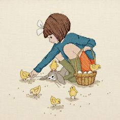 Belle Feeds the Chicks Cross Stitch Pattern Downloadable PDF