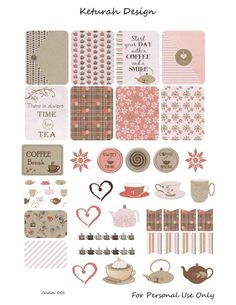 coffee and tea themed printable planner stickers with patterend backgrounds, banners and sayings