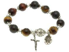 Sterling Silver Elastic Rosary Bracelet, Multi-color Tiger Eyes 10mm