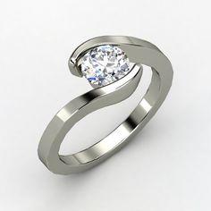 Ocean Ring - Round Diamond 14K White Gold Ring | Gemvara