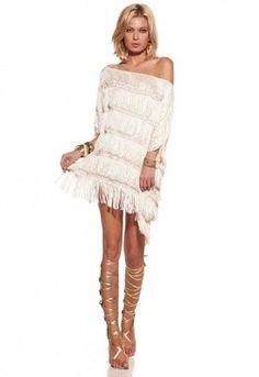 bd1eed8b98a Alexis Sasha Fringed Poncho Dress in Cream
