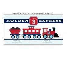 "Choo Choo Train Aqua Red Printable Backdrop Poster - 36"" x 72"""
