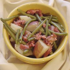 Green Beans and New Potatoes - 4 minutes in the pressure cooker.  Or make from-scratch ham stock to cook them in - 20 minutes.
