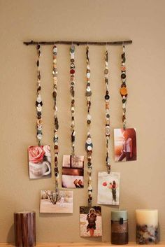 Creative inspired button hanging picture art display