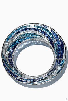 Tiffany Wave Bracelet in platinum with sapphires, aquamarines and diamonds