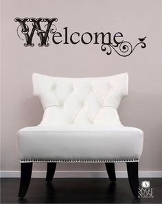 Welcome Wall Decal Vintage Sign - Vinyl Text Wall Words Stickers Art via Etsy