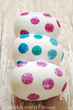 Glitter Easter Eggs Tutorial using glue spots!