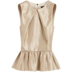 Pleat Front Top Pebbled Beige Metallic Crepe (9,875 MXN) ❤ liked on Polyvore featuring tops, blouses, shirts, blusas, holiday shirts, sleeveless shirts, pink blouse, beige blouse and evening blouses