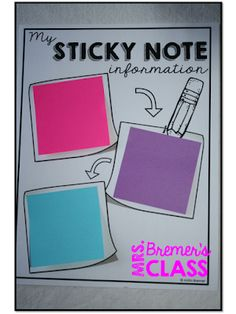 This pack is filled with fun ways for students to use sticky notes for learning! 1st Grade Activities, Social Studies Activities, Science Activities, Kinds Of Reading, Second Grade Science, Reading Notes, Cute Notes, First Grade Classroom, Sticky Notes
