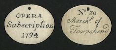 Ivory Subscription Ticket, 1794 (TS 553.801) Harvard Theatre Collection