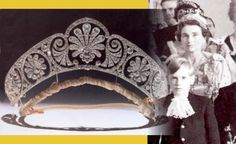 HRH the Duchess of Gloucester, born Lady Alice Montagu-Douglas-Scott, daughter of the Duke of Buccleuch and Queensbury, wears the tiara given to her by her mother-in-law, HM Queen Mary. The diamond tiara is decorated with a graduated frieze of stylised honeysuckle.