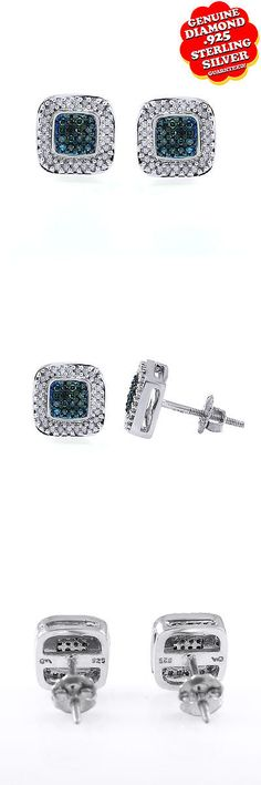 Other Wedding Jewelry 164311: 0.40 Ct Browan Natural Diamond 14K White Gold Over Square Stud Earrings BUY IT NOW ONLY: $94.5