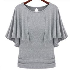 T shirts plus summer fake two-pieces bat sleeve wild Knitwear NS-1169 grey