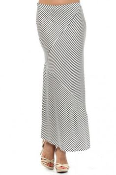 salediem.com has the summer boutique fashions for less.  Shipping Free. Multidirectional striped maxi skirt with elastic waist
