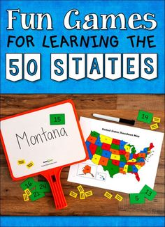 How well do your students know the states and capitals of the US? If they need practice, check out this collection of fun puzzles and learning games including 50 States Showdown! 4th Grade Social Studies, Social Studies Classroom, Social Studies Activities, Teaching Social Studies, Teaching Resources, Baby Activities, Classroom Activities, Classroom Ideas, Engage In Learning