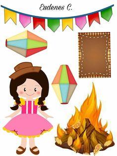 Festa junina Print And Cut, Paper Dolls, Bowser, Diy And Crafts, Alice, Clip Art, Scrapbook, Invitations, Lettering