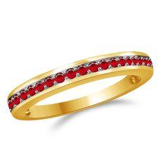 0.33ct Round Cut Ruby 14k Yellow Solid Gold Anniversary Band + Black Diamond #Diamantjewels #AnniversaryBand